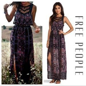 Free People Moroccan Print Lace Neckline Dress